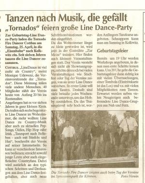 Zeitungsartikel anläßlig unserer Geburtstagsfete 2009